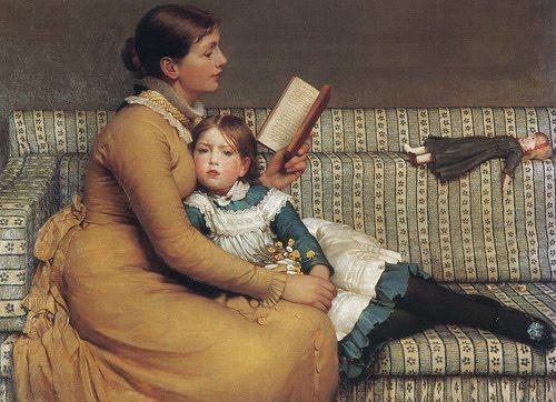 mae lendo pra filha