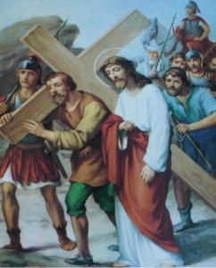 Cirineu ajuda a Jesus a carregar a cruz